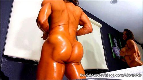 Asian Female Bodybuilder Porn watch female bodybuilder oiling up - big ass, fbb, brandi