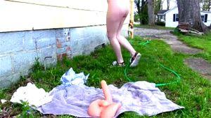 Teen caught toying outdoors