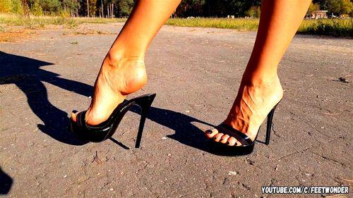 Walking in black high heeled mules Porn - SpankBang