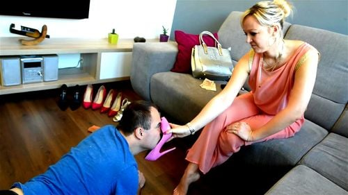 Worshiping wife's Louboutins