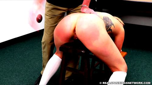 Teen blond student punished