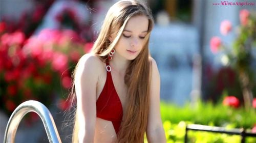 Milena Pool - Milena Angel, Poolside, Solo, Teen, Small Tits, Striptease Porn