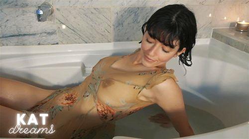 Busty brunette SalaciousKitty bathroom webcam show 2/3