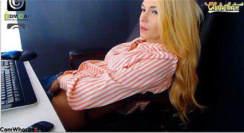 Hot blonde Debralee teases in armchair