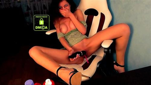 Young Russian brunette Dora Cherry masturbating with vibrator at home