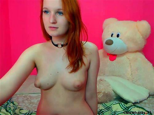 Lovely redhead teen Redshy teases on webcam