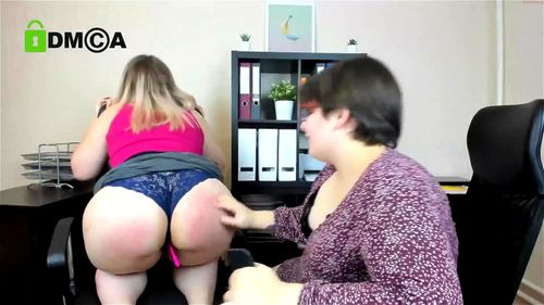 Two chubby lesbian MILFs at the office