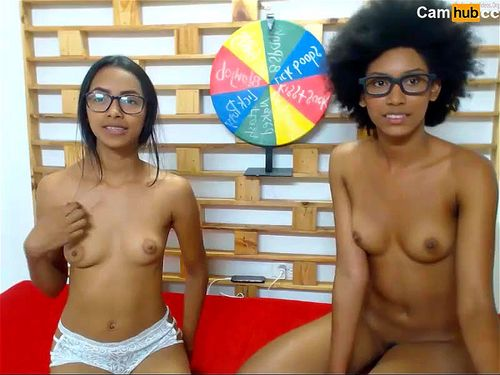 Young Latinas play on webcam