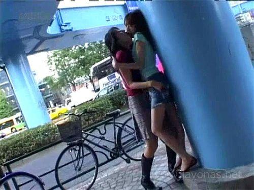 Japanese sloppy lesbian kissing