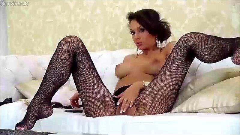 Busty Romanian brunette DayanaDiva couch tease