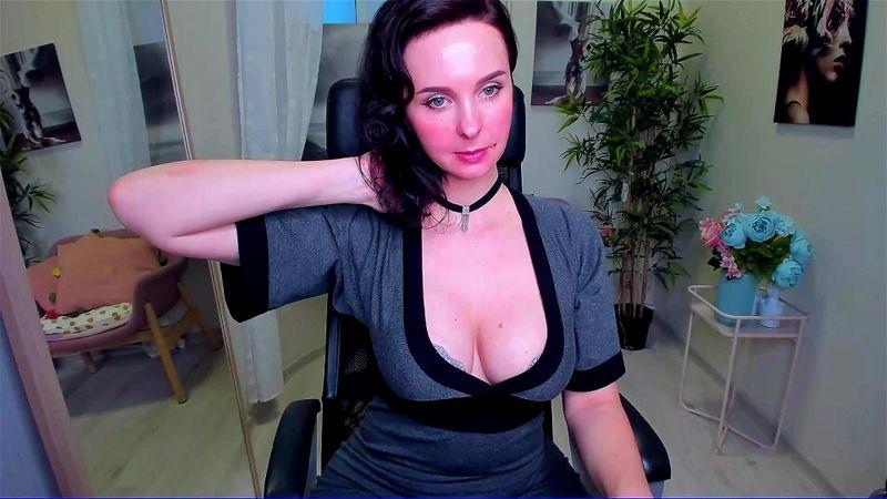 Pretty brunette ViolaViolin webcam tease 3/4