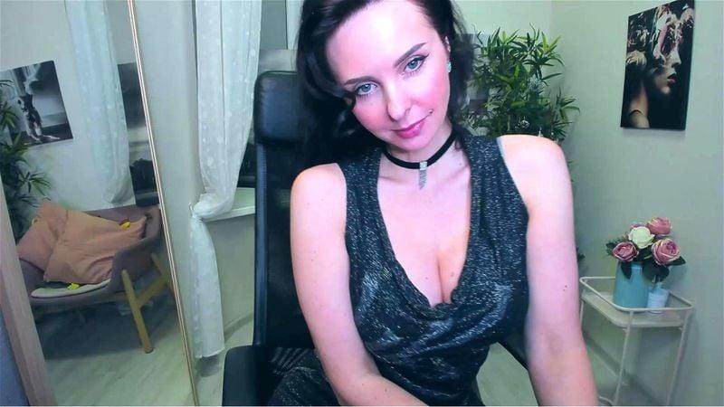 Brunette MILF ViolaViolin teases in sexy evening dress